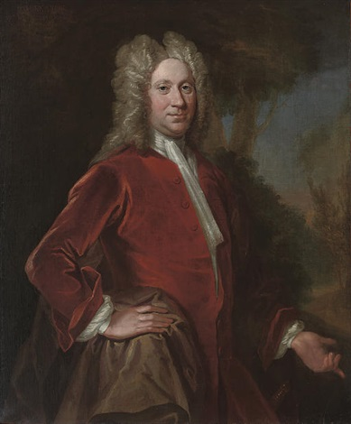 portrait of charles 9th lord elphinstone in a red velvet coat in a landscape by william aikman