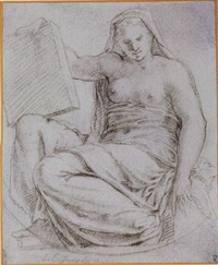 a seated allegorical female figure holding a tablet by giuseppe (salviati) porta