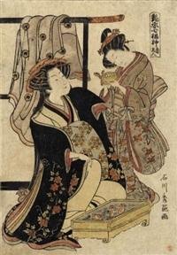 jurôjin (aiban nishiki-e from tsuyasugata shichifukujin) by ishikawa (nishimura shigenobu) toyonobu