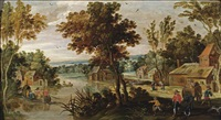 a wooded river landscape with figures in a village, an elegant company in a rowing boat on the water by philips de momper the younger