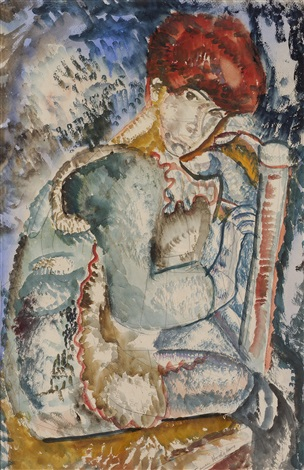 boy on a chair by frances mary hodgkins