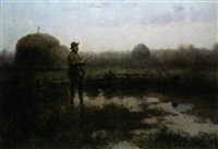 chasseurs près d'un étang by czeslaw boris jankowski