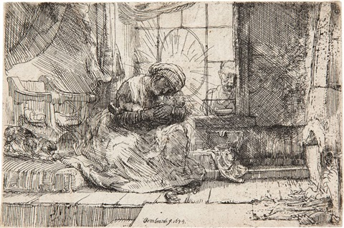 la vierge et l'enfant avec un chat et un serpent by rembrandt van rijn