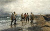 fischer am strand by julius friedrich ludwig runge