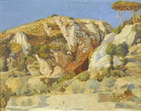 italian landscape with figure by max roeder