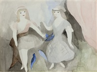 deux jeunes filles aux oiseaux bleus by marie laurencin