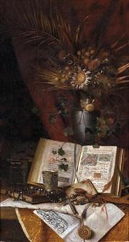 stilleben mit einem trockenblumenarrangement by michael kress