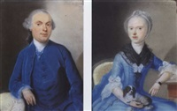 portrait of martinus van toulon, in a blue suit with a lace collar and a wig; portrait of adriana maria van toulon, in a light blue dress, lace collar and sleeves by pierre frédéric de lacroix