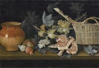 natura morta con frutta, carne, brocca in ceramica e cesto by giovanni rivalta
