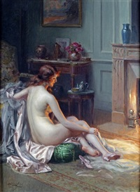 nu devant le foyer by delphin enjolras
