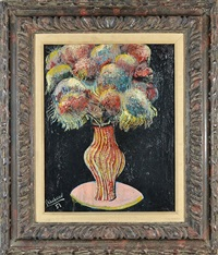 vase of flowers on a table by nahum tschacbasov