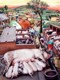 wildlife series, prosperity of the pig year by chen shuzhong