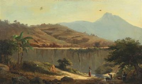 mountainscape with women washing clothes in the river probably morocco by daniel hermann anton melbye