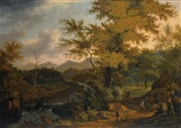 an extensive wooded river landscape with fishermen near a river, and sportsmen and travellers on a path by timotheus de graef