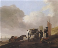 reisigsammler in den dünen am meeresstrand by jacob esselens