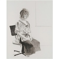 celia seated on an office chair (black state) by david hockney