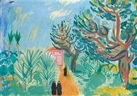landscape with figures by nachum gutman