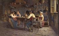 interior scene (family meal) by publio de tommasi