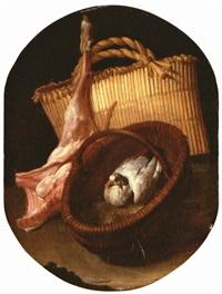 natura morta con cesto con colomba, quarto di capretto e sporta by arcangelo resani