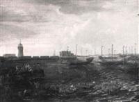 paysage maritime près de l'entrée d'un port by lucas smont the younger
