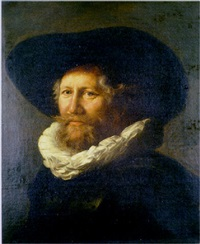 portrait of a gentleman, in a black hat with a white ruff collar by abraham de vries
