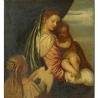 circle of alessandro varotari madonna and child with a donor presenting a dove by alessandro varotari
