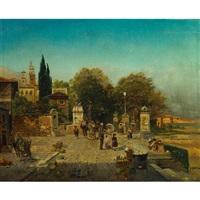 a busy roman market by robert alott