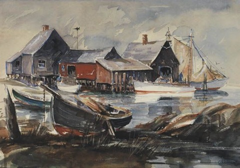 harbor scene with wharf by anthony thieme