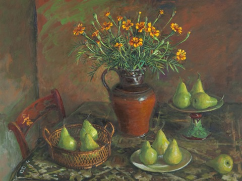 marigolds and pears by margaret hannah olley