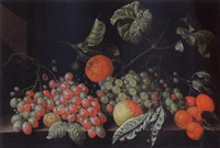 a still life with grapes, a tangerine, an apple, prunes and apricots, all on a stone ledge by cornelis de bryer