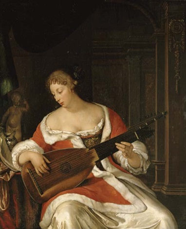 a lady playing a lute in an interior by eglon hendrik van der neer
