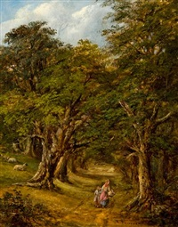 mother and child in a wooded grove by robert burrows