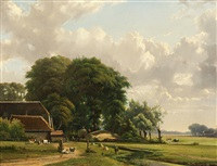 a sunny day on the countryside by hendrik van de sande bakhuyzen