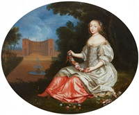 a lady in a park landscape - mademoiselle bo by pierre mignard the elder