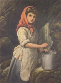 girl in a red headscarf by a well by alexander rasell