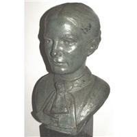 head of a woman with a cravat by eleanor mellon