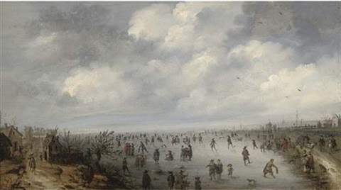 a frozen winter landscape with skaters by robert van den hoecke