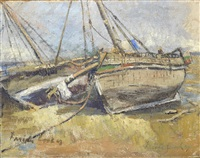 fishing boats on the beach by freida lock