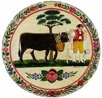 senn mit kuh, ziege und baum by josef manser