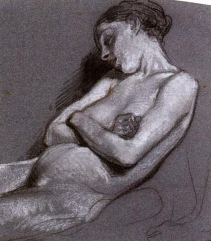 femme demi allongée endormie by nicolas françois octave tassaert