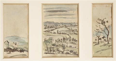 paysages 3 works in 1 frame by johan barthold jongkind