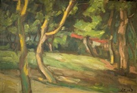 trees and a red house by zvi shor