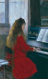 jeune fille au piano by gustave leheutre