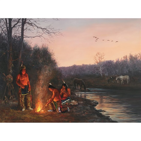 sioux campfire by hubert wackermann