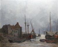 port du conquet dans le finistère et bateaux en réparation à lormont près de bordeaux (pair) by jules vernier