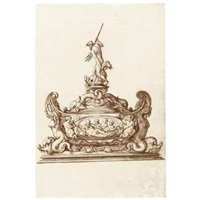 design for an elaborate covered salt cellar with poseidon holding his trident by jacopo strada