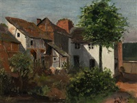 oil painting of a backyard by adolph von menzel