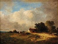 paysans près de la chaumière by leon victor dupré