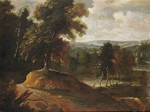 a wooded landscape with a figure walking up a hill a church beyond by jacques d arthois