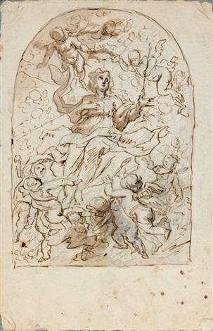 la vierge en gloire entourée danges study by cornelis schut the elder